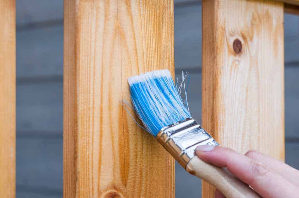 brushing on stain for deck