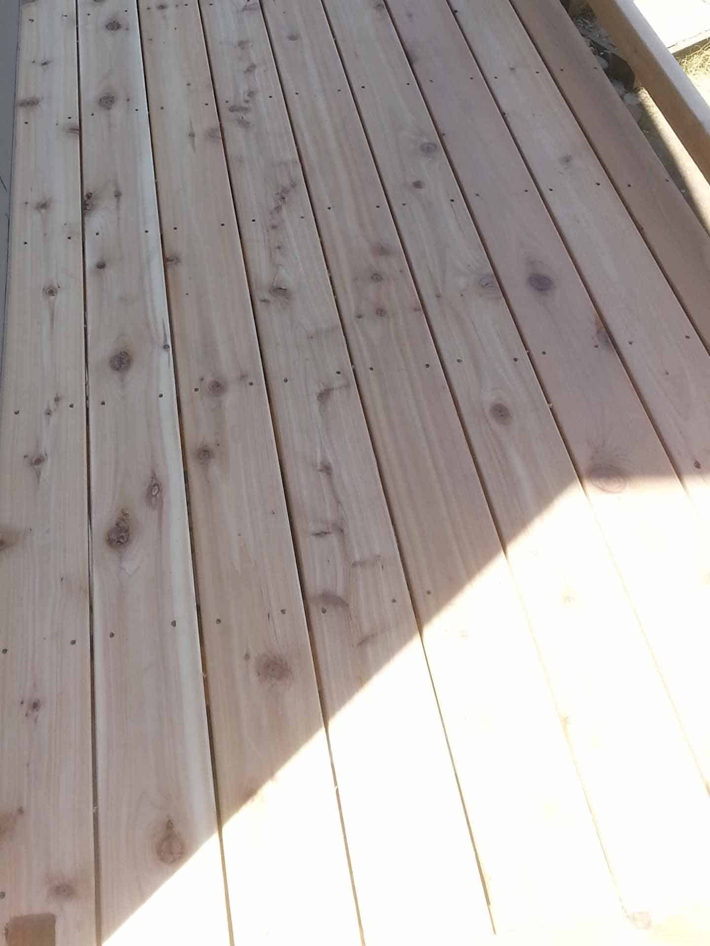 close up of wood decking