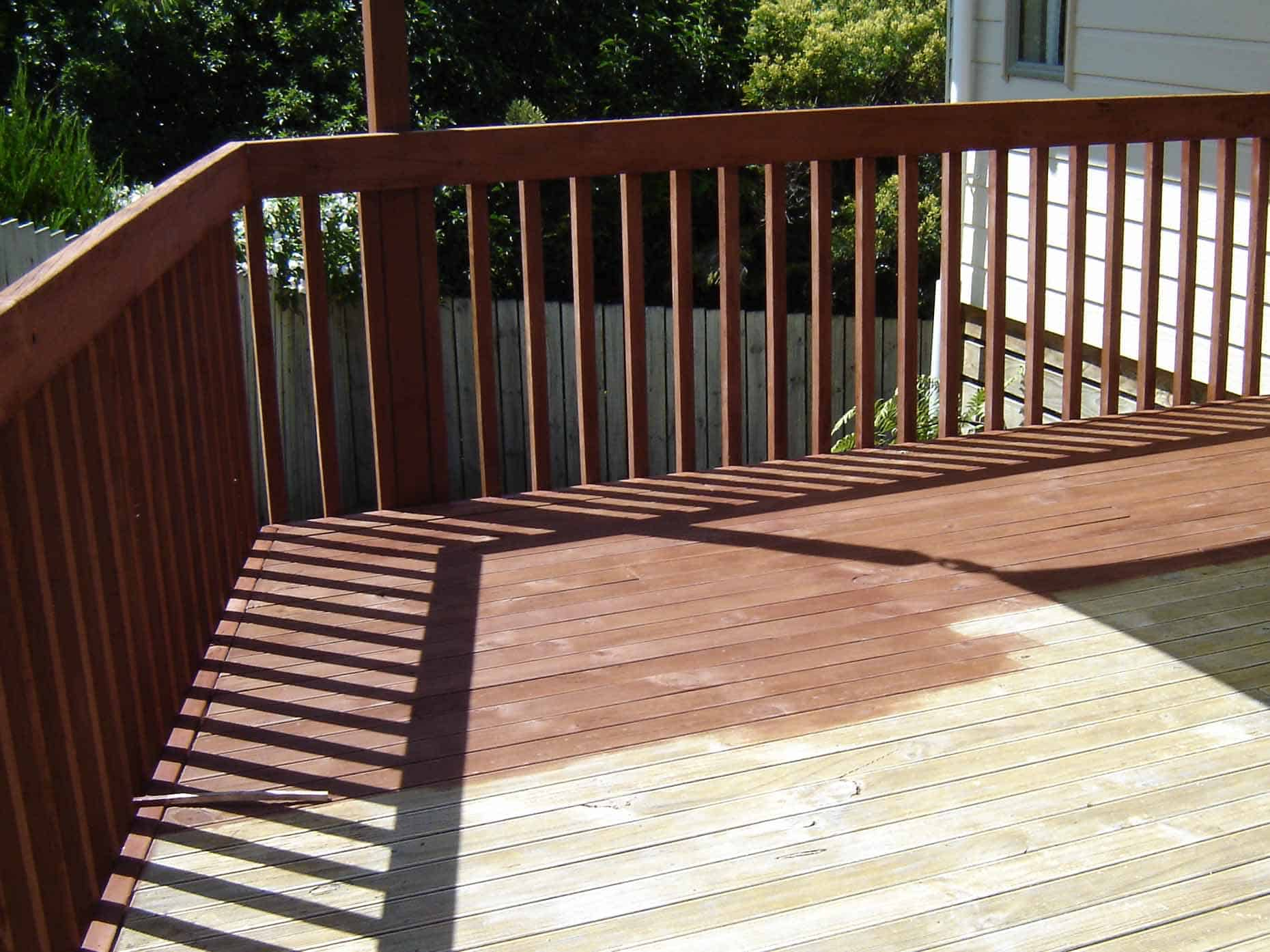 pic of a partially stained deck