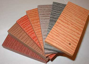 Variety of colors of composite decking