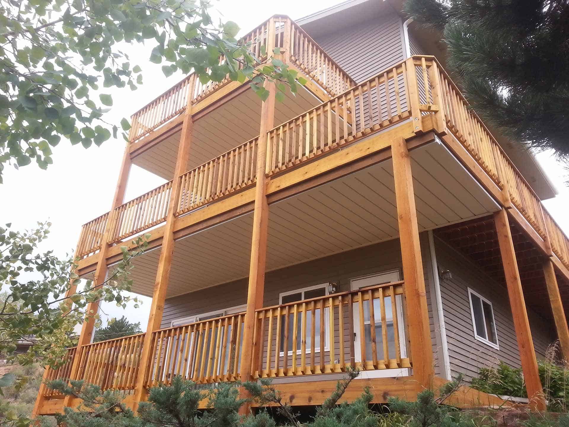 pic of a three story triple deck w/under decking built in fort collins, co